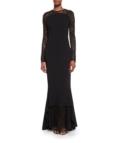 Lotsane Long-Sleeve Lace & Crepe Gown, Black