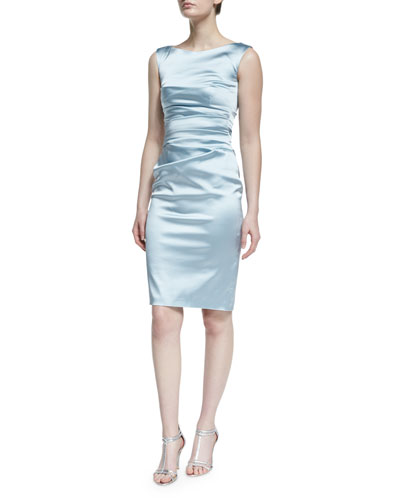Ruched Sleeveless Cocktail Dress, Azur