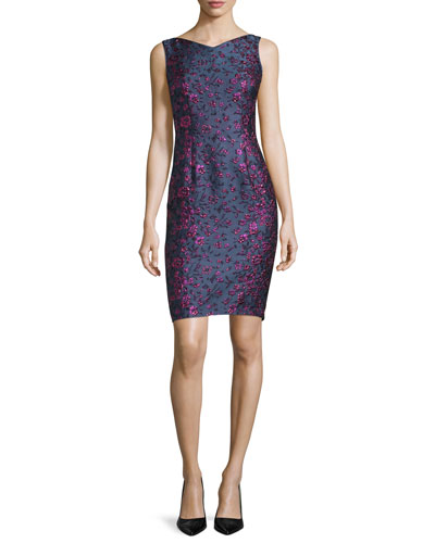 Roxie Sleeveless Floral-Print Cocktail Dress, Midnight