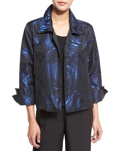 Night Blooms Jacquard Gala Jacket, Sapphire/Black