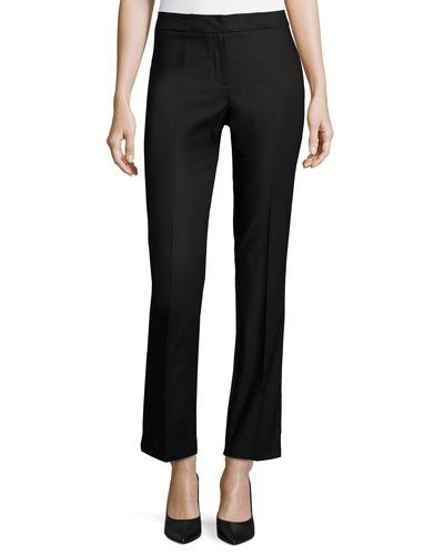 Perfect Front-Zip Straight-Leg Pants, Petite
