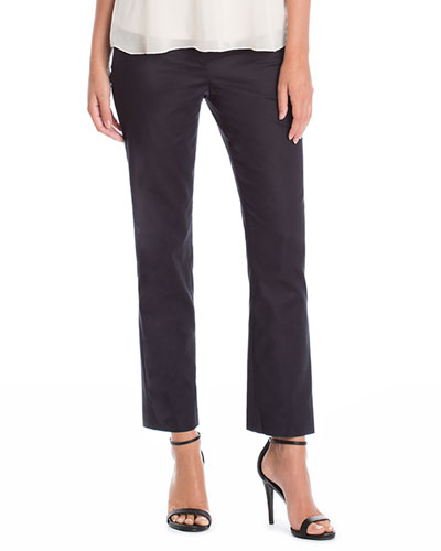 The Perfect Front-Zip Ankle Pants, Black Onyx, Petite