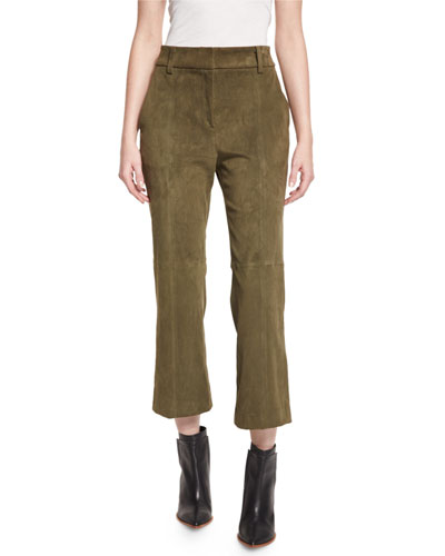 Alain Suede Cropped Boot-Cut Pants