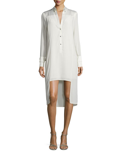Silk Tuxedo Shirtdress, Dark Bone