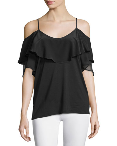 Bella Cold-Shoulder Ruffle Blouse, Black