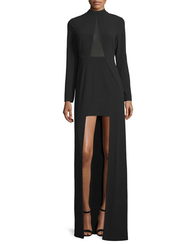 Long Sleeve High-Low Gown, Black