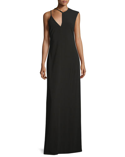 Sleeveless Jewel-Neck Fitted Gown, Black