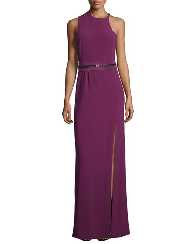 Sleeveless Jewel-Neck Fitted Gown, Magenta