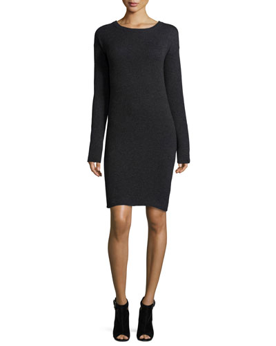 Daniella Open-Back Cashmere Sweater Dress, Charcoal