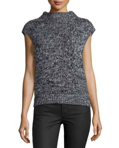 Beau Marled Cap-Sleeve Wool-Blend Sweater, Black Tweed