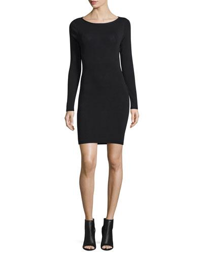 Karrah Slash-Back Sweaterdress, Black