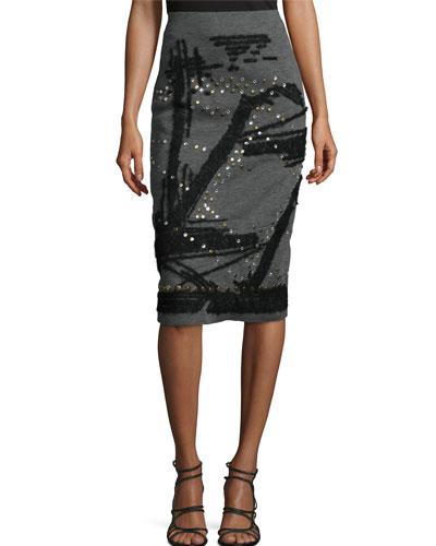 High-Waisted Pencil Skirt, Flannel