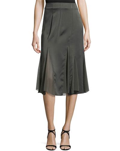 Chiffon Godet Skirt, Steel