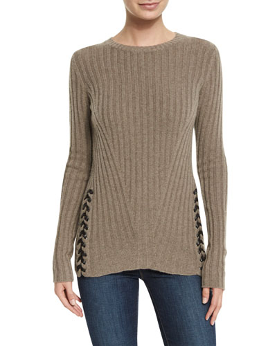Ribbed Crewneck Sweater w/ Leather Lace-up Sides