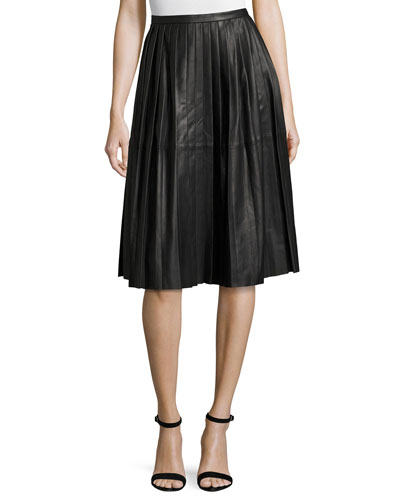 Plissé Leather Skirt