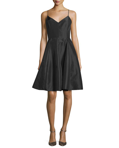 Taffeta Sleeveless V-Neck Dress, Black