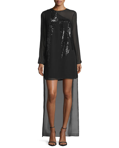 Sequined Long-Sleeve High-Low Dress, Black