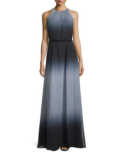 Ombre Sleeveless Chiffon Gown, Black/Haze