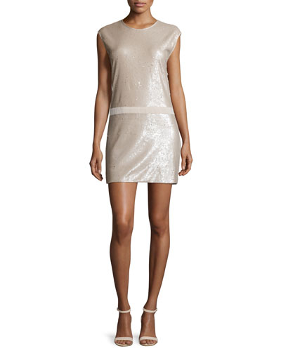 Cap Sleeve Sequined Mini Dress, Buff/Gold