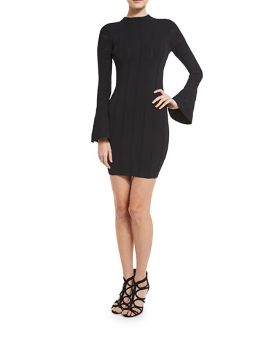 Lighthouse Bell-Sleeve Knit Dress, Black