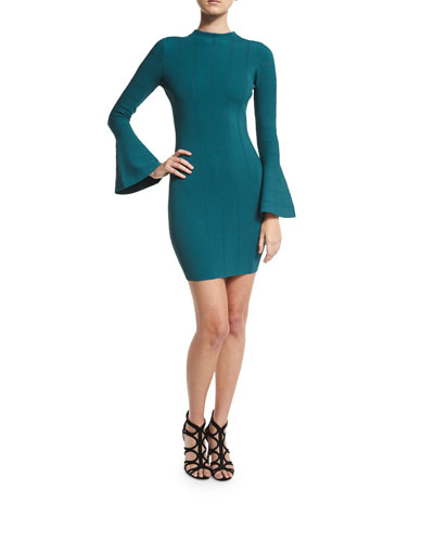 Lighthouse Bell-Sleeve Knit Dress, Forrest Green