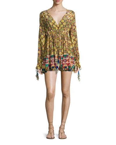 Kaleidoscope-Print Tassel Mini Dress, Janpath
