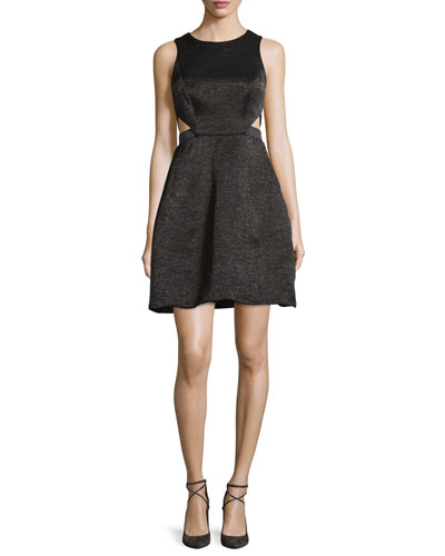 Sleeveless Cutout Metallic Jacquard Dress, Black