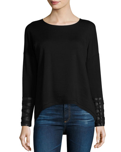 Robyn Leather-Trim Lace-Up Top, Black