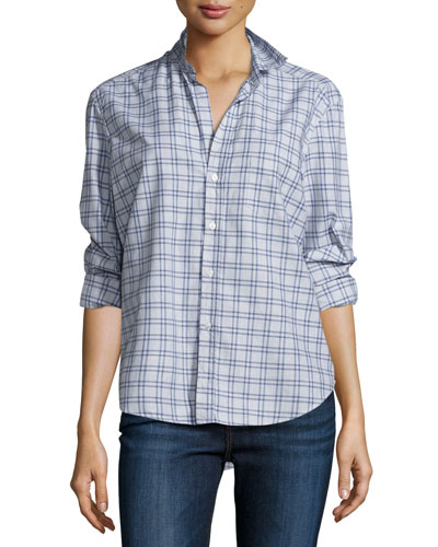 Eileen Check Button-Front Shirt, Blue/Heather Gray