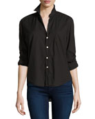 Eileen Button-Front Shirt, Black