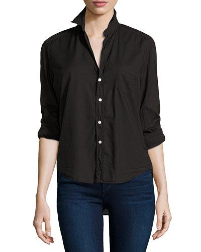 Eileen Button-Front Shirt, Black