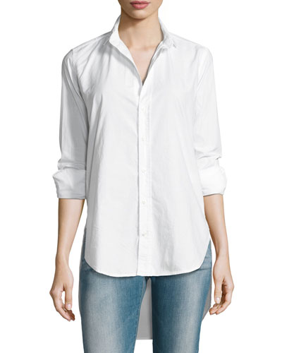 Grayson High-Low Button-Down Shirt, Blue/White Stripe