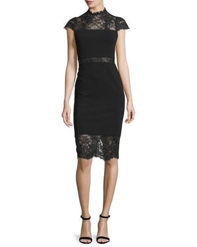 Kim Lace-Inset Sheath Dress