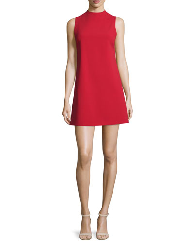 Coley Mock-Neck Sleeveless Shift Dress