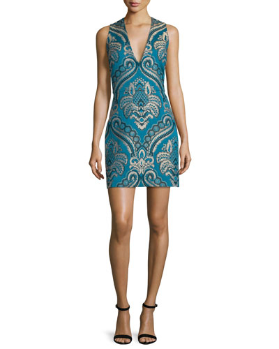 Natalee Paisley Sleeveless Sheath Dress
