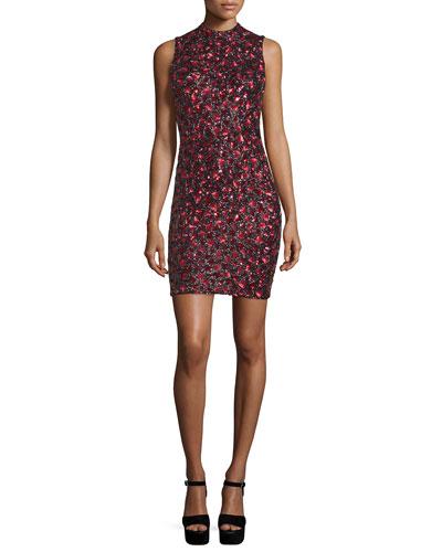 Rosalee Embellished Mock-Neck Mini Dress