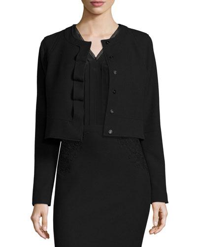 Geneva Cropped Stretch-Knit Jacket, Black