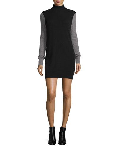 Oscar Cashmere Turtleneck Sweater Dress, Multi Colors