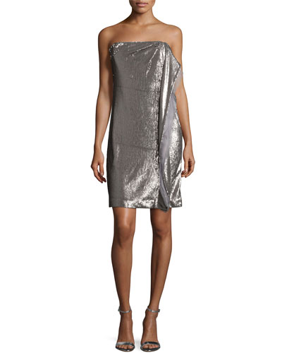 Column Sequined Dress, Taupe/Silver