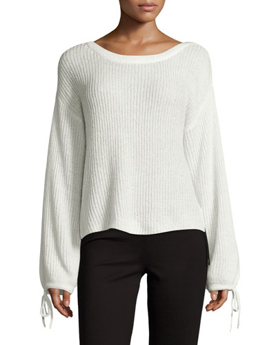 Lesya Tie-Sleeve Sweater, Natural