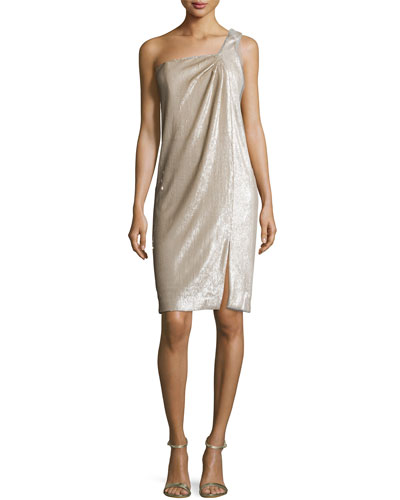 One-Shoulder Twist Drape Dress, Dark Bone/Gold