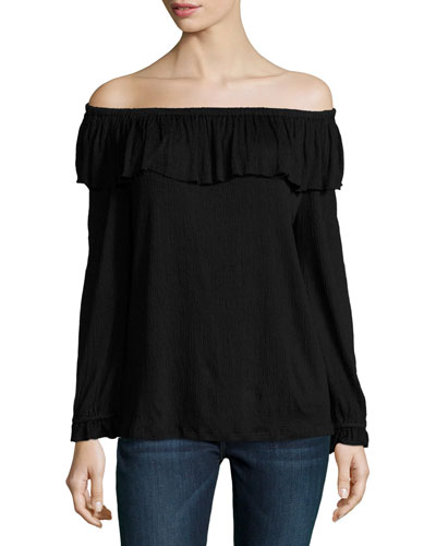Gioannia Off-the-Shoulder Top, Black
