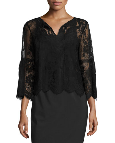 Calista Sheer Lace Blouse, Black