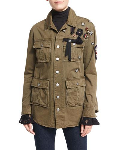 Canyon Embellished Shirt Jacket, Olive
