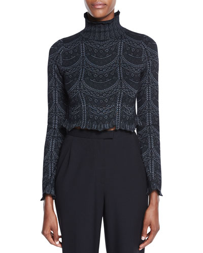 Phoebe Lace-Print Turtleneck Top, Black