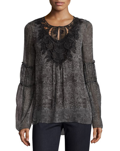 Kirk Lace-Yoke Silk Blouse, Black