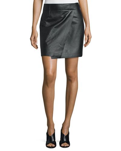 Leather Mock Wrap Skirt, Black