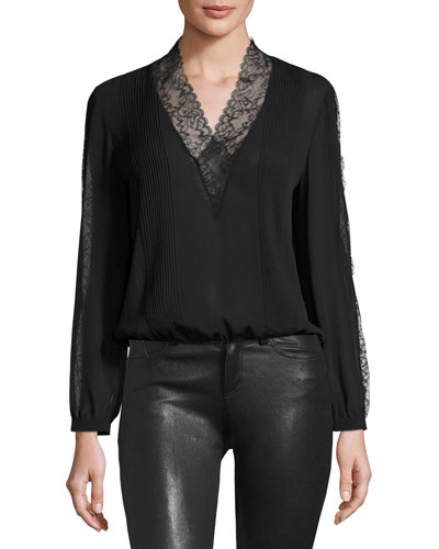 Kaitlyn Long-Sleeve Lace-Trimmed V-Neck Blouse, Black