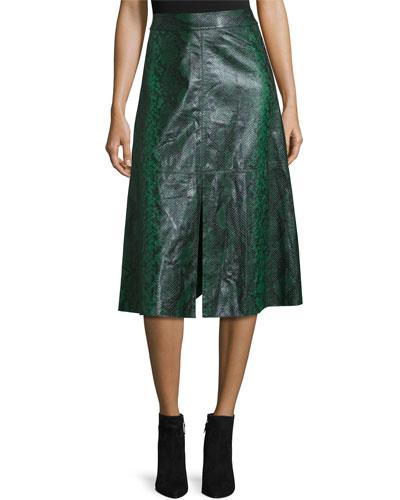 Romi Snake-Embossed Leather Midi Skirt