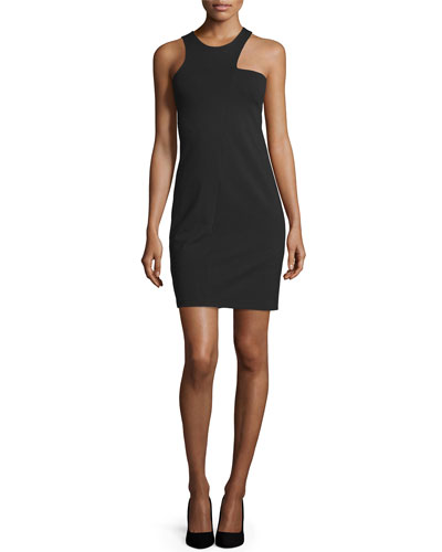 Cut-Away Shoulder Sheath Dress, Black